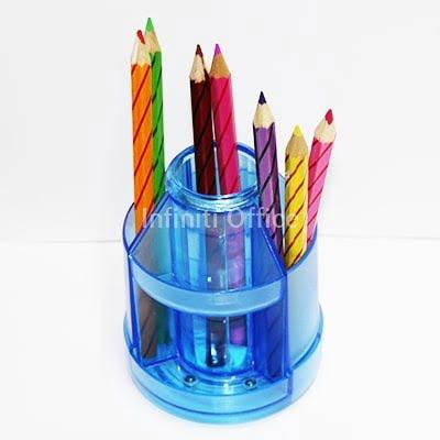 Clear Plastic Multi-use Semi-circular Rotating Pen Holder Container Desk Organizer