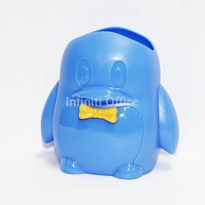 Gote kancelarie plastike ne forme pinguini(blu dhe e verdhe)